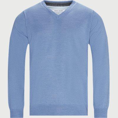 Salina V-hals Striktrøje Regular | Salina V-hals Striktrøje | Blå